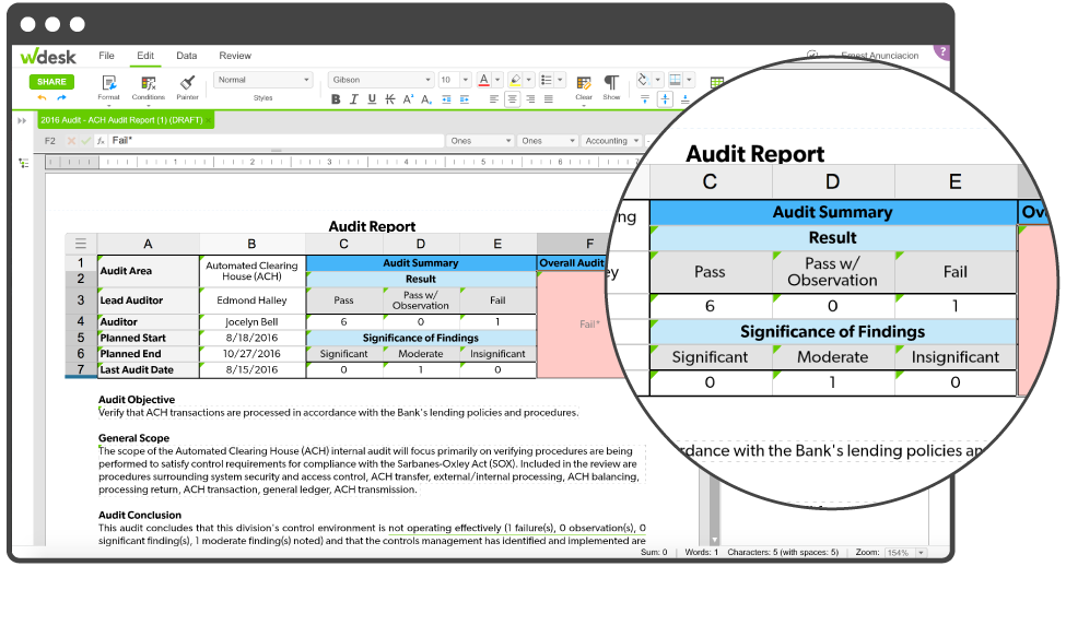 real time audit report data