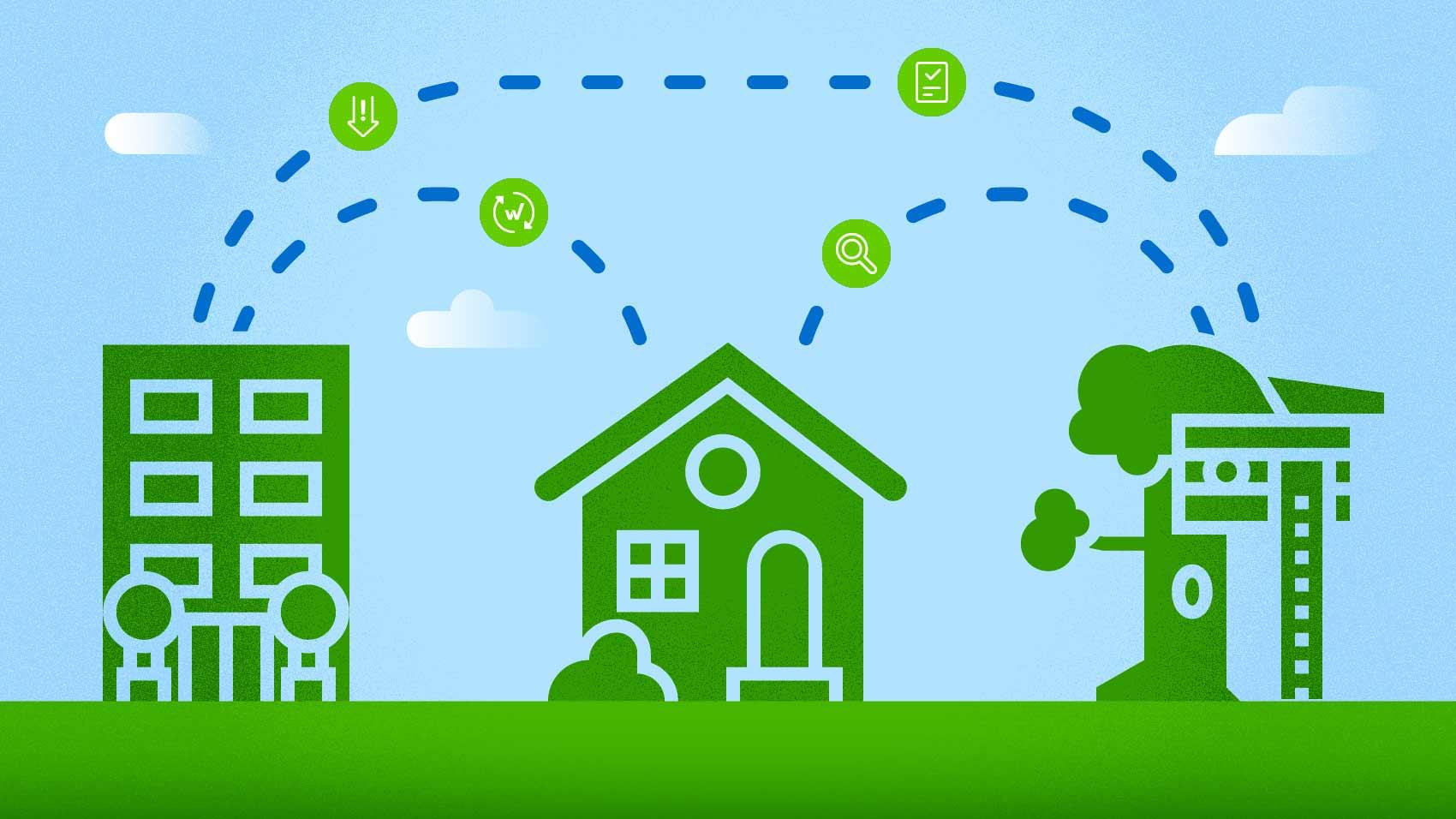 data flowing from businesses to home through the cloud