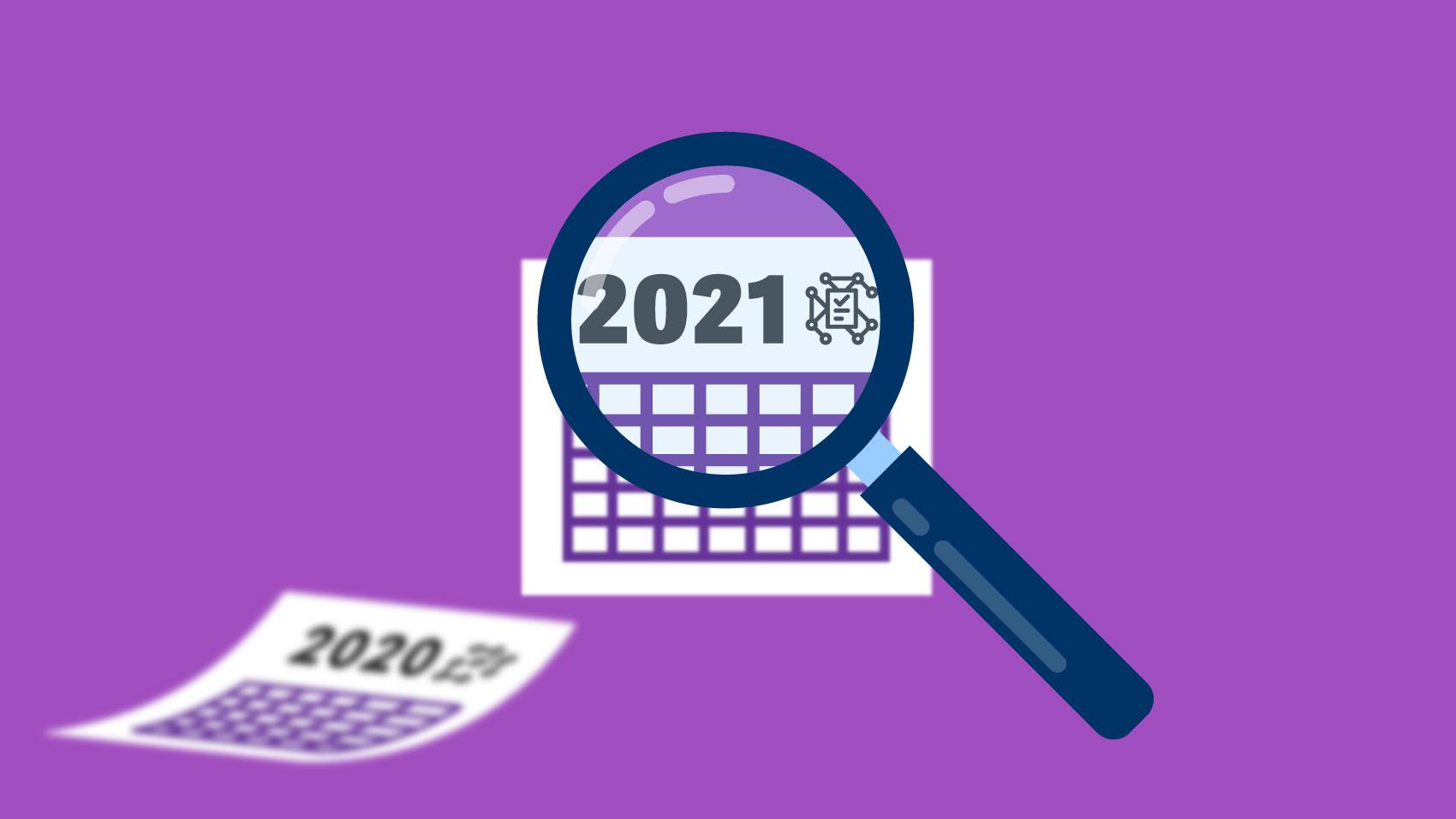 2020 calendar gives way to 2021 image