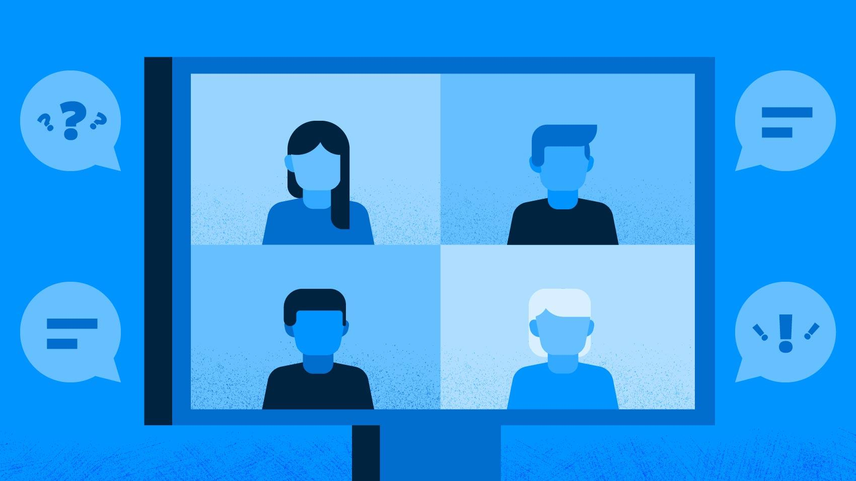 computer screen showing people in a virtual meeting