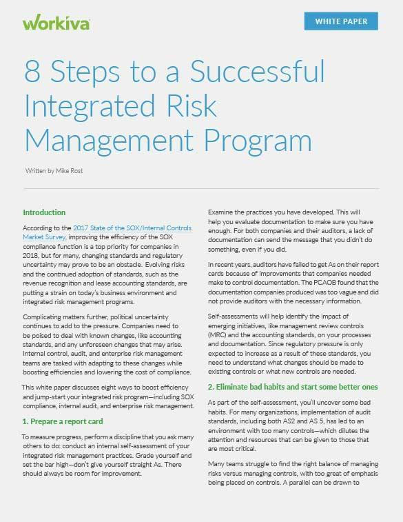 8 Steps to a Successful Integrated Risk Management Program