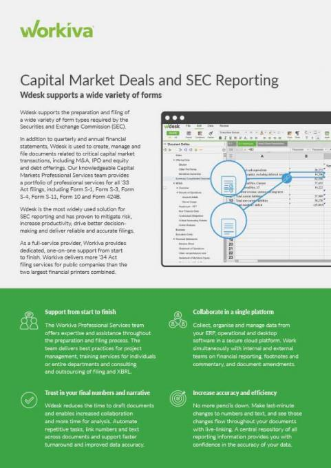 Capital market deals and sec reporting datasheet