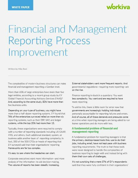 financial reporting process improvement