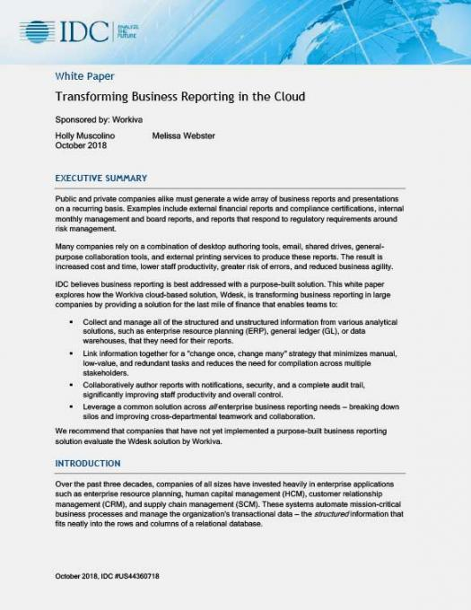 Transforming Business Reporting in the Cloud