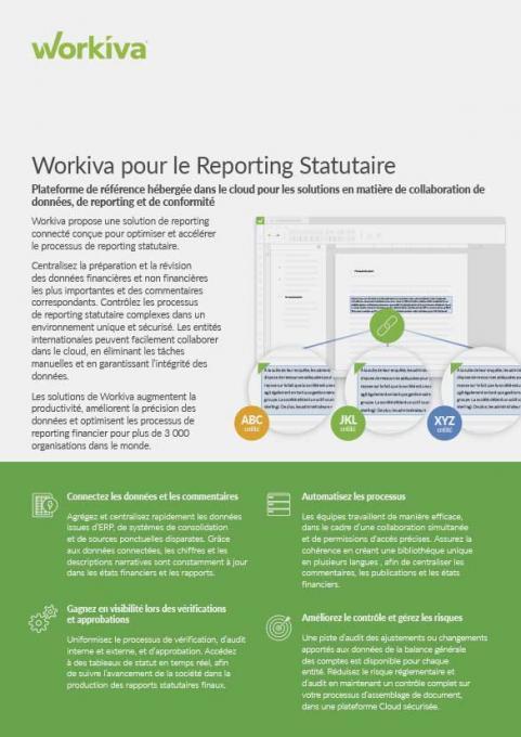 Fiche technique Reportings statutaires