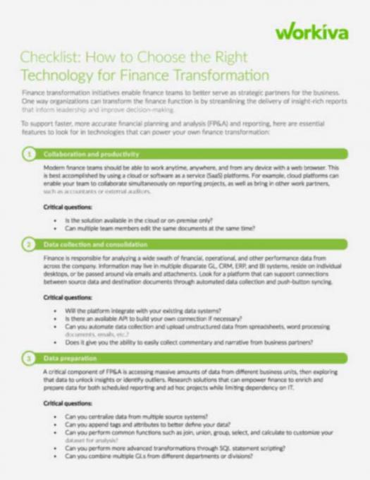 Checklist: How to Choose the Right Technology for Finance Transformation