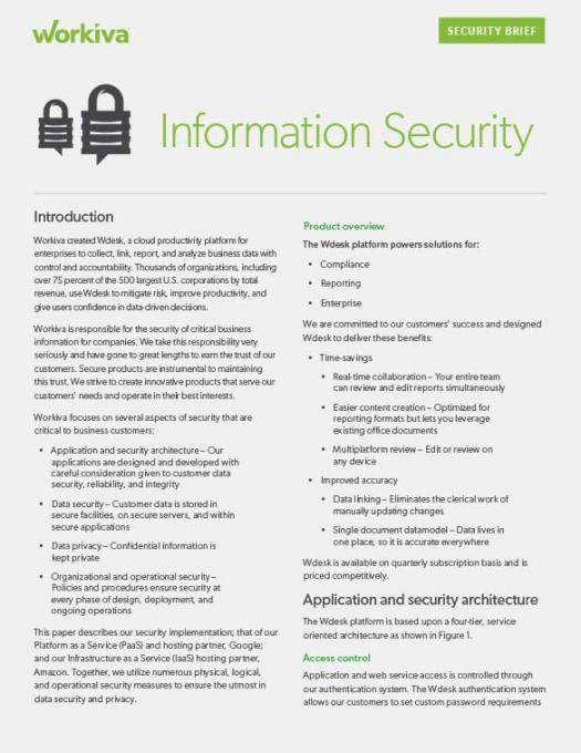 Workiva Security Brief Datasheet