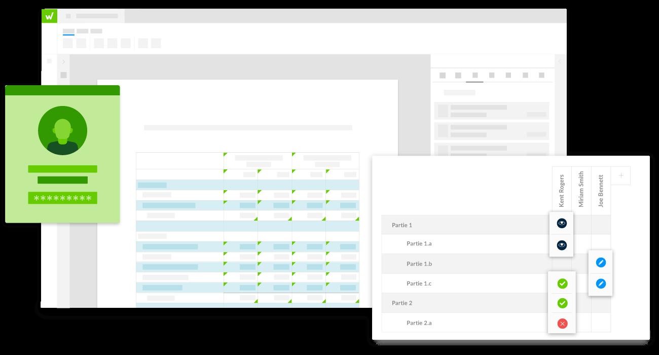 interface de la plateforme Workiva affichant les autorisations et la sécurité des documents