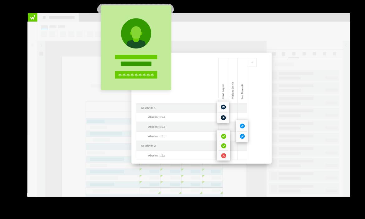 Benutzeroberfläche der Workiva-Plattform mit Dokumentberechtigungen und Sicherheitseinstellungen