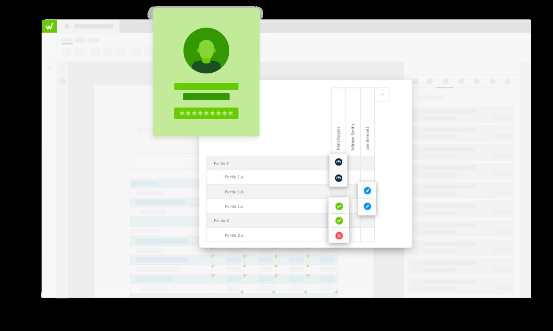 l'interface de la plateforme Workiva affichant les autorisations de document et les paramètres de sécurité