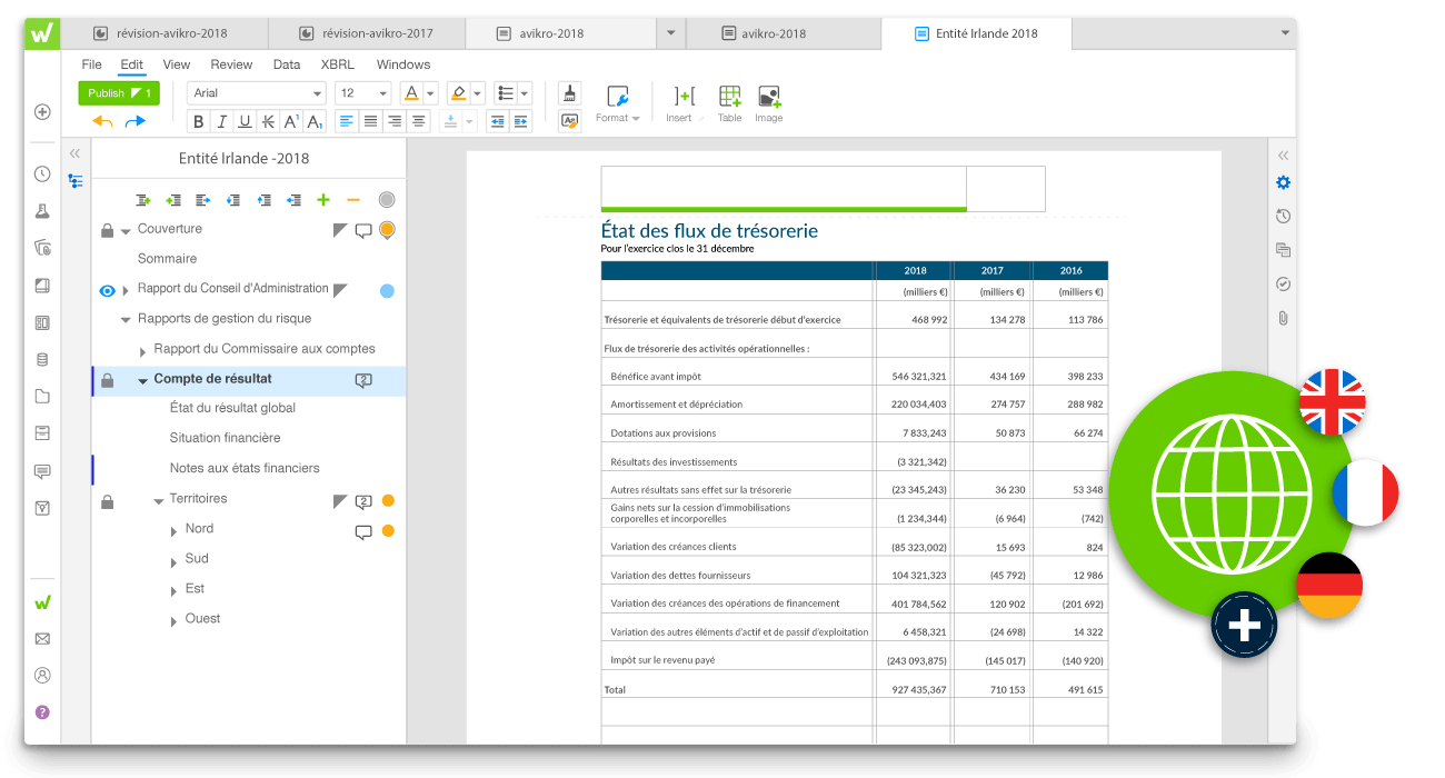 example de reporting statutaire sur la plateforme Workiva