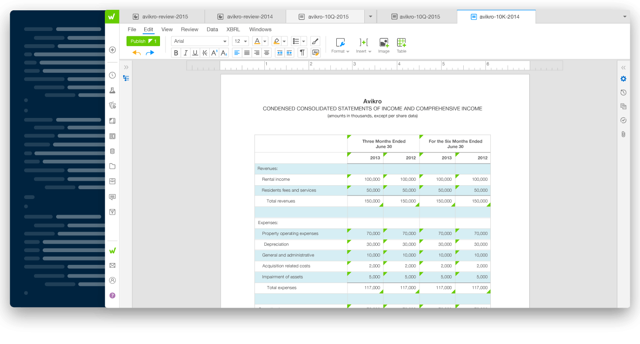 workiva platform interface