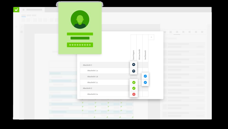Benutzeroberfläche der Workiva-Plattform zur Veranschaulichung der Berechtigungsverwaltung für verschiedene Dokumentenabschnitte