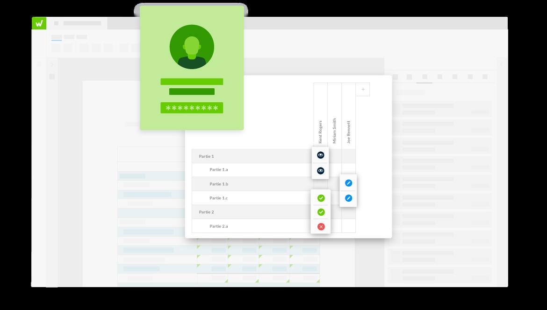 interface de la plateforme Workiva montant les réglages d'autorisation pour différentes sections de document