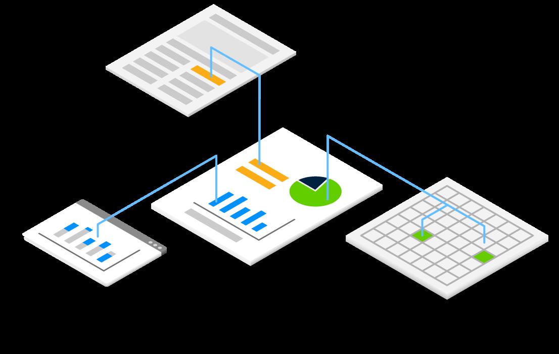 Abbildung zur Veranschaulichung des Datenflusses von der Quelle zu Dokumenten, Präsentation und Diagrammen
