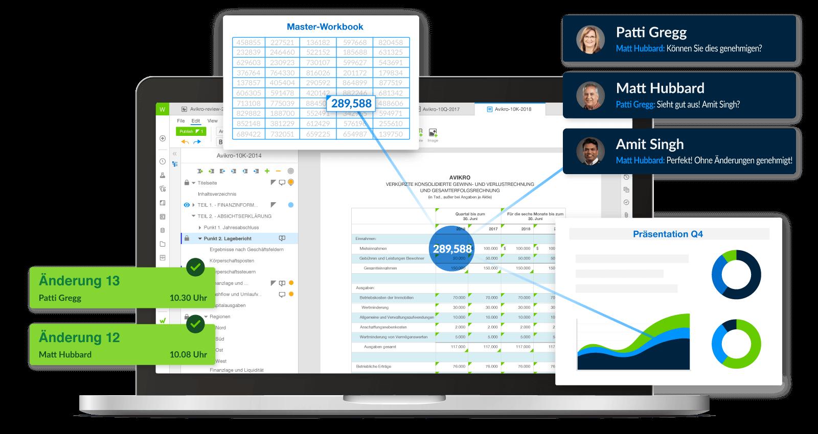Benutzeroberfläche und Bestandteile der Workiva-Plattform