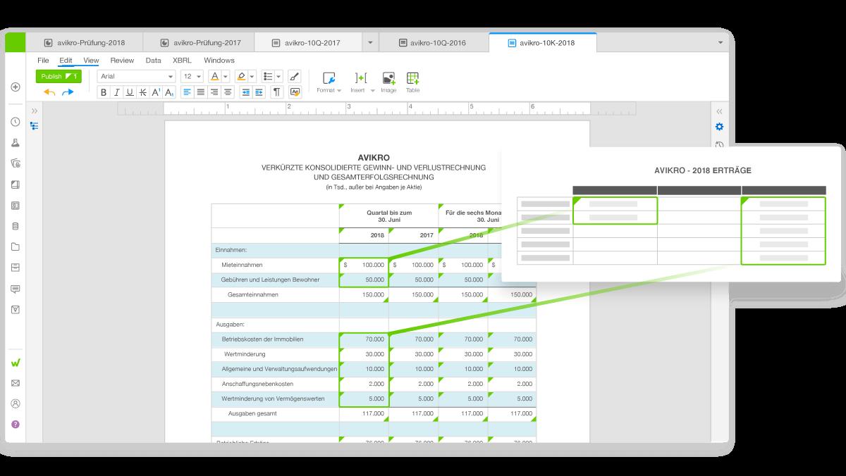 Benutzeroberfläche der Workiva-Plattform mit Datenverknüpfungen zwischen verschiedenen Berichten
