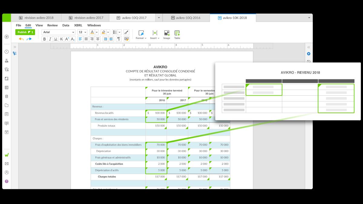 interface de la plateforme Workiva montrant les connexions des données d'un rapport à un autre