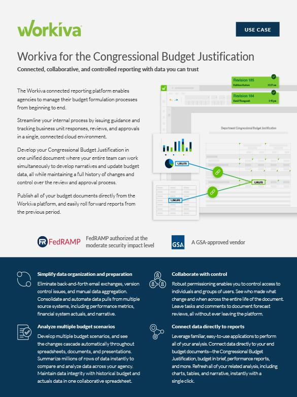 workiva for congressional budget justification datasheet