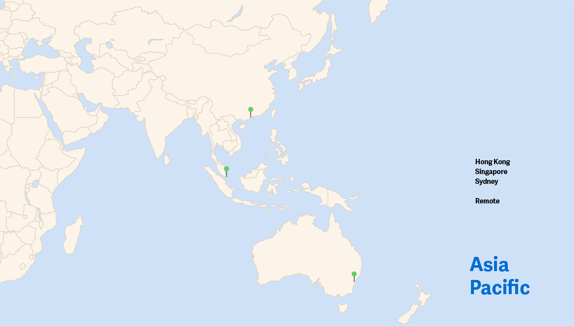 map showing workiva office locations in asia pacific