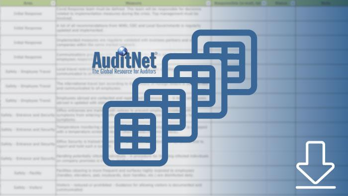 screenshot of auditnet templates