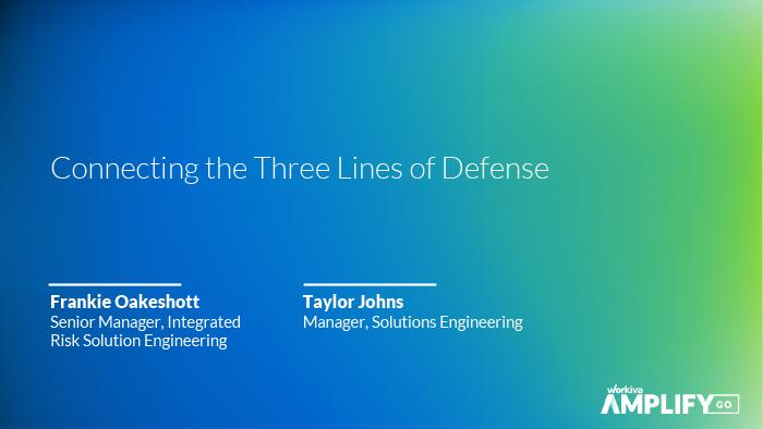 title slide for connecting the three lines of defense webinar
