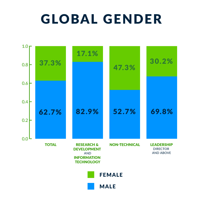 chart showing gender diversity at workvia