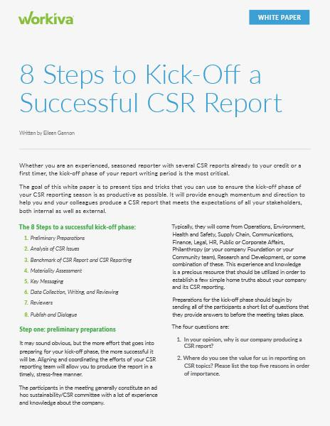 8 Steps to Kick off a Success CSR Report