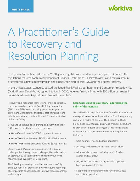 A practitioner's guide to recovery and resolution planning