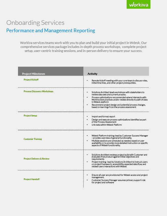 Performance and Management Reporting Onboarding Services Datasheet