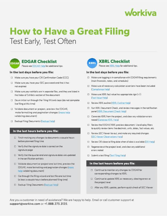 edgar and xbrl filing checklist