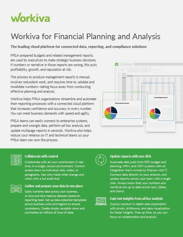 Financial Planning and Analysis Datasheet