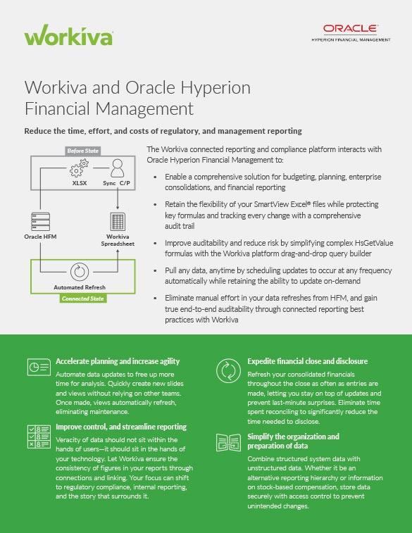 Oracle Hyperion Financial Management Connection Datasheet