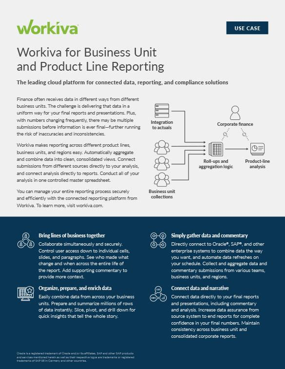 Business Unit and Product Line Reporting Datasheet