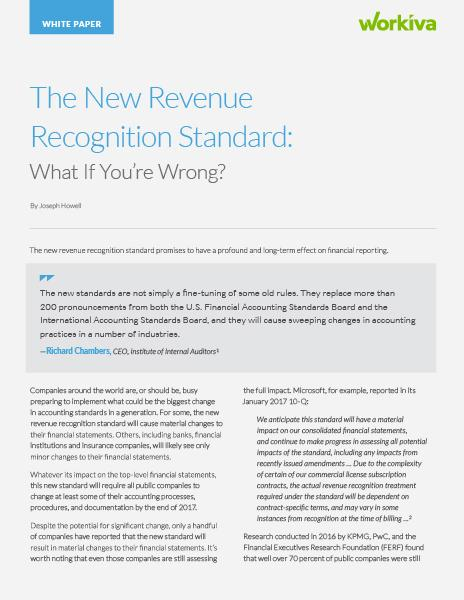 The New Revenue Recognition Standard: What If You're Wrong?
