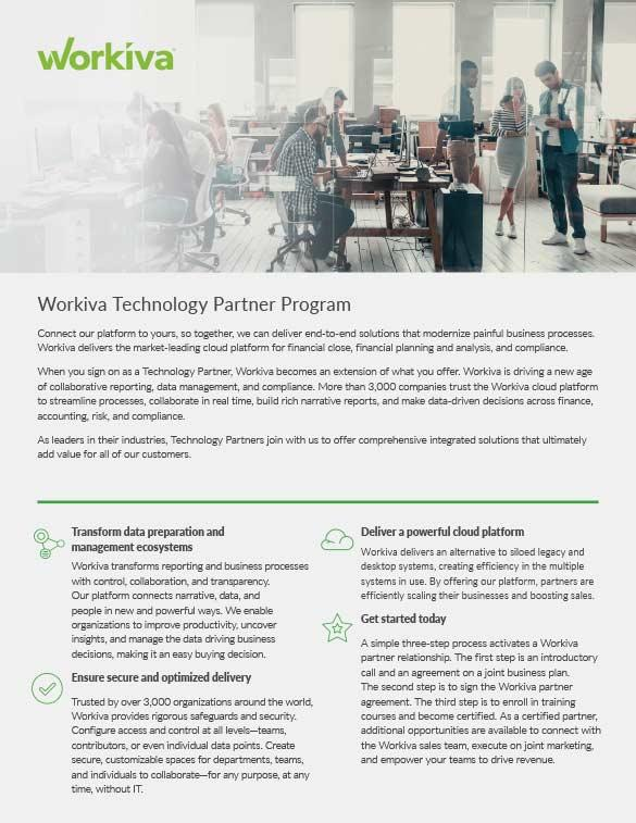 Workiva Technology Partner Program