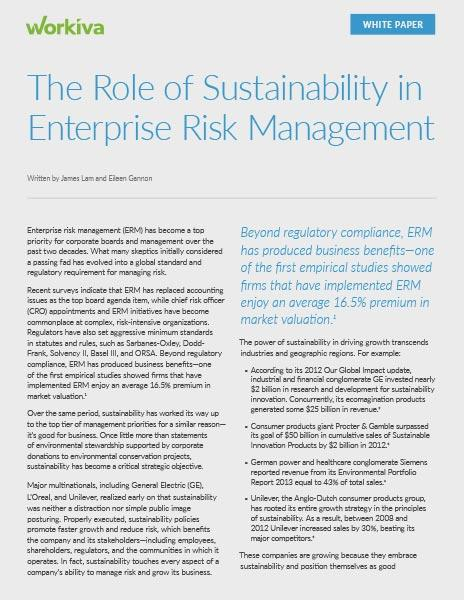 The Role of Sustainability in ERM