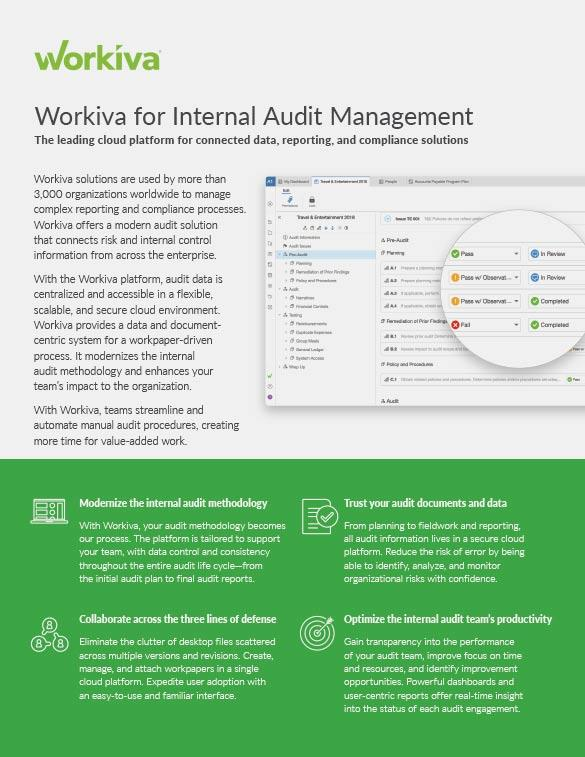 Internal Audit Management Datasheet