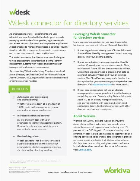wdesk connectors for directory services