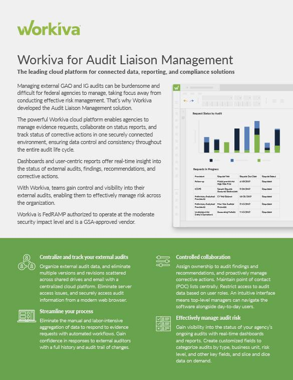 workiva audit liaison datasheet