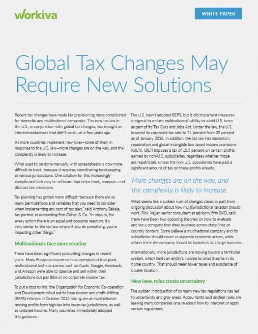 Global Tax Changes May Require New Solutions