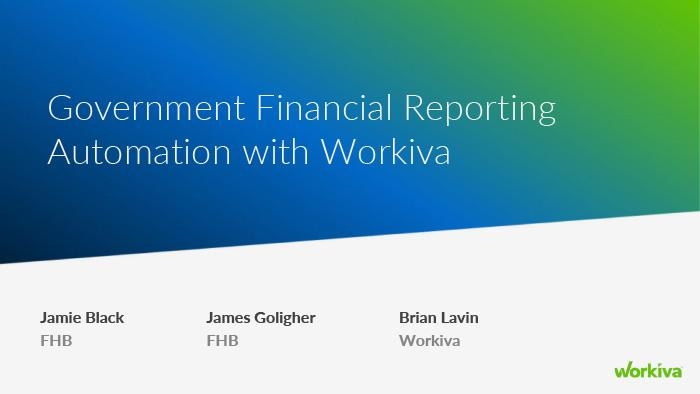 government financial reporting automation webinar slide image