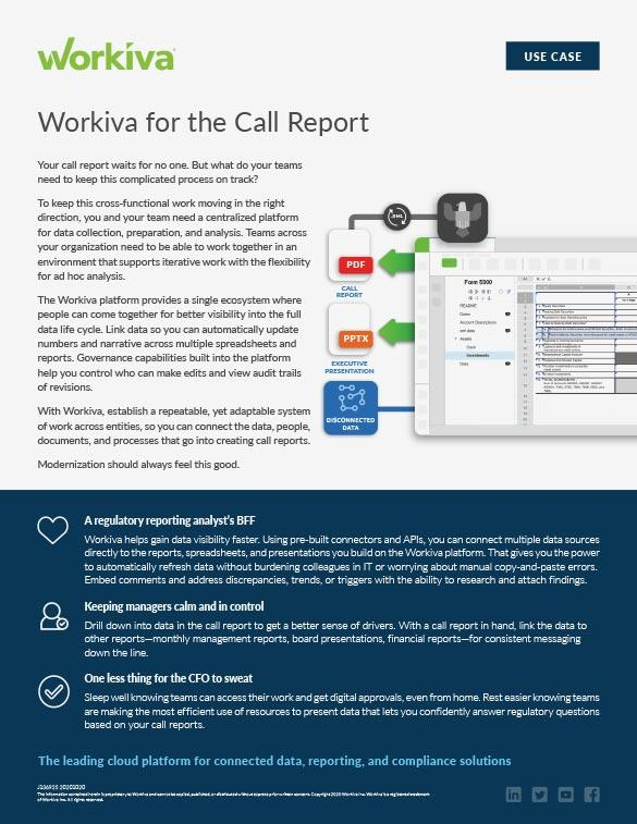 How Workiva helps simplify the call report process image