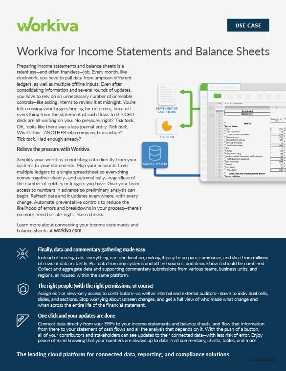 Income Statements and Balance Sheets Datasheet