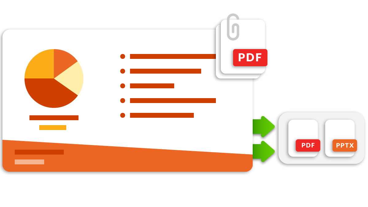 Attach files to any presentation and export presentations to PDF or PPT format to share with teams outside the Workiva platform.