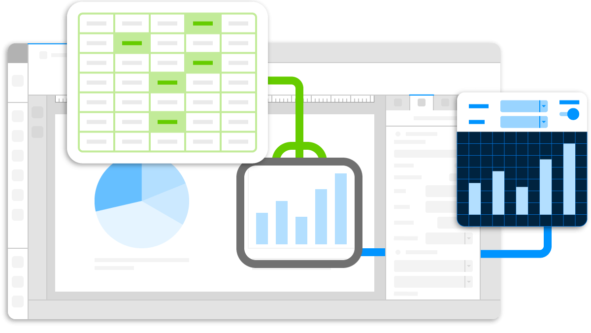 Present your data with beautiful, easy to build charts and graphs that update automatically.