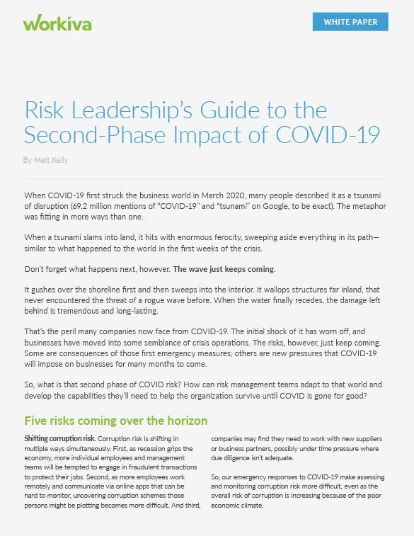 Risk leadership's guide to the second phase impact of covid-19 cover sheet