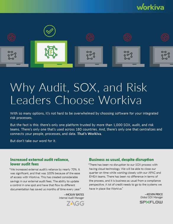 why sox audit and risk leaders say yes to workiva cover page