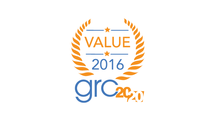 2016 GRC 20/20 Value Award for Internal Controls Management
