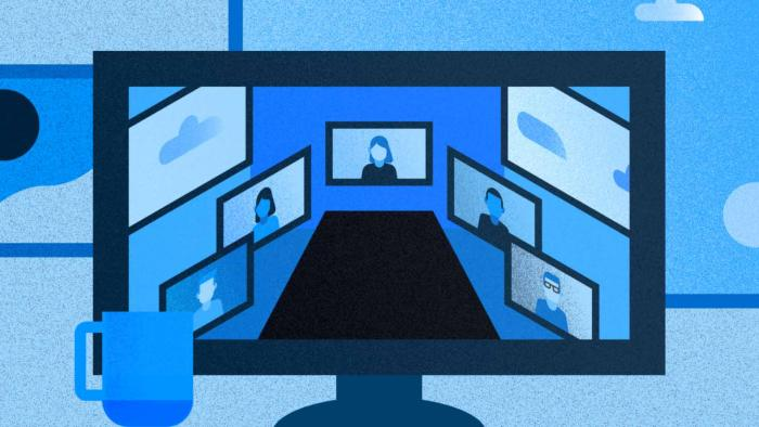 illustration of a computer monitor with employees in a virtual meeting